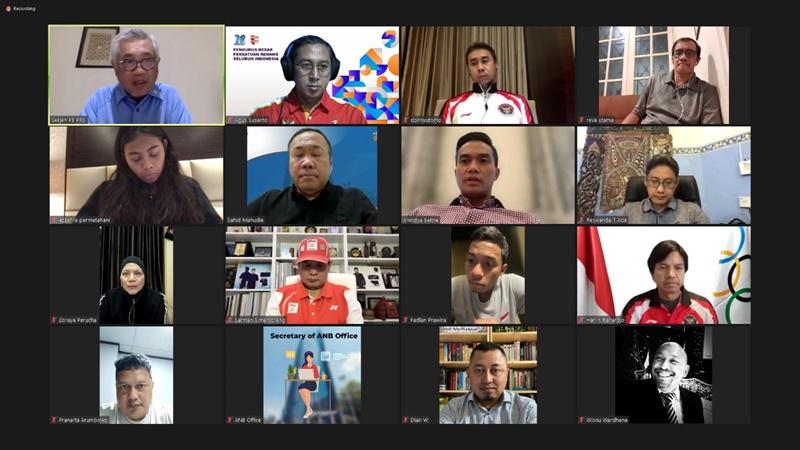 Pelepasan atlet dan juri PRSI secara virtual di Jakarta, Jumat (16/7/2021) malam. (Ist).