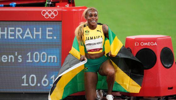 Juara bertahan Elaine Thompson-Herah, memimpin Jamaika menyapu bersih medali dalam nomor 100 m putri Olimpiade Tokyo 2020