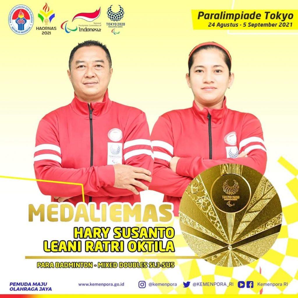 Merebut medali emas ganda campuran bulutangkis bersama Hary Susanto membuat Leani Ratri Oktila menyabet dua emas dan satu perak di Paralimpiade 2020 Tokyo
